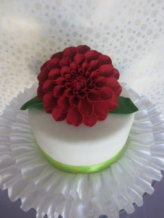 edible sugar dahlia large red by sweetbouquet on Etsy, $25.00