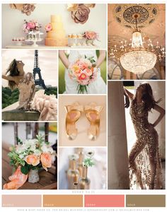 Peaches and Gold Sequins Wedding Inspiration Board | Rosy and Ruby Paper Company