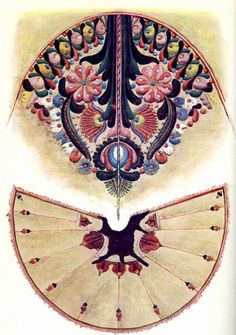 Hungarian cape embroidery. Unfolded suba; Gyula, Bekes county