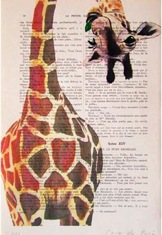 Drawing Illustration Digital Print Mixed Media  Art Poster Acrylic Painting Holiday Decor Drawing Gifts: Giraffe with green leave on Etsy, $12.67 CAD