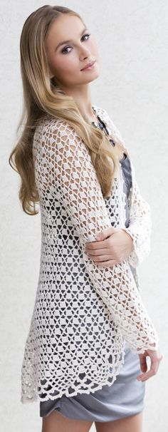 Cosmo Duster Jacket in Tahki Yarn's COTTON CLASSIC LITE #crochet