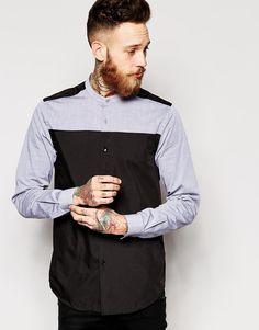 ASOS | ASOS Shirt In Long Sleeve With Grandad Collar at ASOS