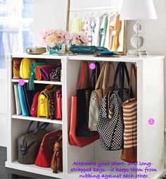 bookcase with hanging hooks for purse storage idea; this is what my sister needs for her MANY bags she owns!  @Stephanie Close Francis Monti if you click on the link it says to use a bar with shower hooks! im sure if its tall enough you could do two bars?