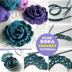 Vamos a realizar una bonita flor al crochet con efecto 3D, muy apropiada para utilizar en apliques d...
