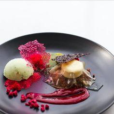 New dessert designed for today green apple lemongrass parfait pineapple film raspberry rocks and aromatic shards #pastegaysorn #pastebangkok by pastebangkok