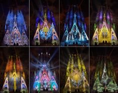 Gaudi's Basilica Sagrada Familia is illuminated during a magnificent light show as part of the Merce Festival in Barcelona, Spain