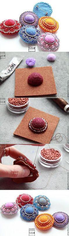 Брошка из бисера и войлока - Ярмарка Мастеров - ручная работа, handmade
