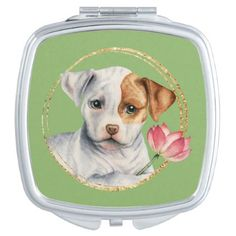 Puppy Holding Lotus Flower with Faux Gold Ring Mirror For Makeup - home decor design art diy cyo custom
