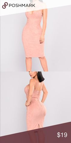Suede blush dress 💗 New with tags and in perfect condition 💗 Fashion Nova Dresses Midi