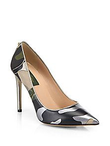 Valentino - Safari Camo Leather & Canvas Pumps