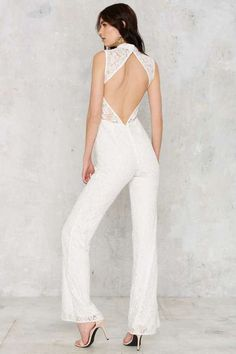 Factory Adriana Lace Jumpsuit - White