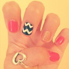 Chevron pink sparkle nails