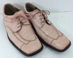 Roberto Chillini Mens 11 Pink Faux Croc Oxford Shoes  #PushMilton #Oxfords