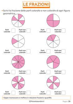 Spiegare le Frazioni ai Bambini con Esercizi Semplici   PianetaBambini.it 3rd Grade Math Worksheets, Math Charts, Math School, Pixel Art, Grade 3, Aurora, Friday, Studio, Halloween