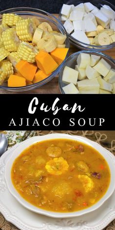 Ajiaco is a hearty soup that's popular in Cuban cuisine. A Cuban ajiaco includes pork and beef and a showcase of tropical vegetables. This soup features plantains, malanga, yuca, boniato, pumpkin and Comida Boricua, Boricua Recipes, Mexican Food Recipes, Soup Recipes, Cooking Recipes, Healthy Recipes, Ethnic Recipes, Cuban Soup Recipe, Healthy Breakfasts