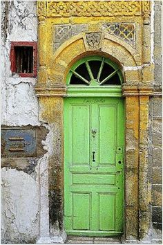 Lime green door with yellow wall by twila
