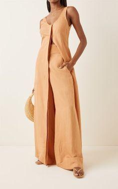 Palma Linen-Blend Canvas Wide-Leg Pants By Bondi Born | Moda Operandi Wide Leg Trousers, Ladies Dress Design, Dress Making, Designer Dresses, Wrap Dress, Luxury Fashion, Fashion Outfits, Legs, Fashion Design