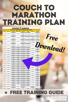 Couch To Marathon Training Plan Marathon Training Plan Beginner, 10k Training Plan, Marathon Tips, First Marathon, Training Schedule, Marathon Running, Free Training, Strength Training, Six Month