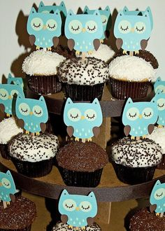 Owl Cupcake Toppers, owl themed baby shower