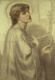 The artwork Santa Lilias - Dante Gabriel Rossetti we deliver as art print on canvas, poster, plate or finest hand made paper. Dante Gabriel Rossetti, William Morris, Figure Drawing, Painting & Drawing, Pre Raphaelite Paintings, British Poets, Christina Rossetti, Pre Raphaelite Brotherhood, Edward Burne Jones
