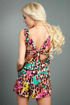 Graffiti Jungle Romper - Peach - I'm Haute
