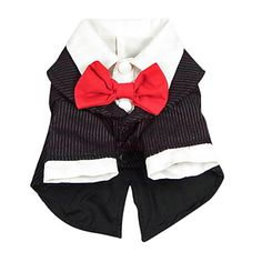 Elegant Stripe Pattern Business Suit with Bowtie for Dogs (XS-XL) – USD $ 14.59