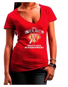 TooLoud Welder - Superpower Juniors Petite V-Neck Dark T-Shirt