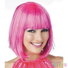 Costume Wig: Pink Shimmering Bob