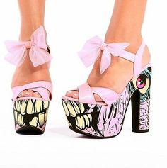 FDW Womens Iron Fist Dance On Your Grave Pink Zombie Platform High Heel Shoes. Matches the purse Arlene got me for Xmas!