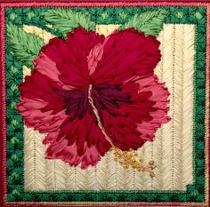 Hibiscus Silk Flower Needlepoint Complete Kit - in this Silk Flower Series Ribbon embroidery Hand Work Embroidery, Embroidery Scissors, Silk Ribbon Embroidery, Embroidery Stitches, Needlepoint Stitches, Needlepoint Kits, Needlework, Needlepoint Designs, Sewing Art
