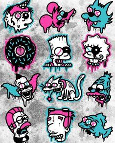 Simpsons Drawings, Simpsons Art, Graffiti Art Drawings, Cool Drawings, Doodle Tattoo, Tattoo Drawings, Cartoon Design, Cartoon Art, Disney Drawings