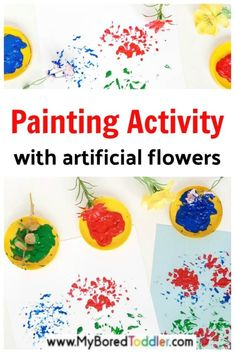 Painting with Flowers - Easy Toddler Activity Idea - Painting with Artificial Flowers Artificial flowers are fun to use in a painting activity with todd - Spring Activities, Craft Activities For Kids, Toddler Activities, Projects For Kids, Motor Activities, Art Projects, Craft Ideas, Easy Art For Kids, Epic Kids