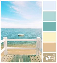 Beach Life 2: Beige, sand, Cream, Teal , Blue, Sky - Designcat Colour…