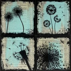 Turquoise Dandelion Dictionary Coaster set of Four  - Wild Wordz Collection by TzaddiHome - Upcycled Dictionary Art -  Dandelion Dreamin'