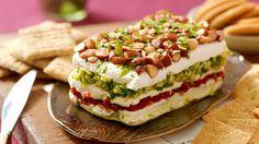 "Layered Sundried Tomato and Artichoke Spread {use Greek yogurt ""cream cheese"" for healthier version"