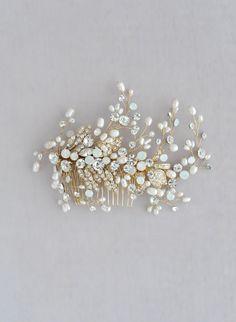 Swarovski freshwater pearls, crystals, bridal hair comb, twigs and honey