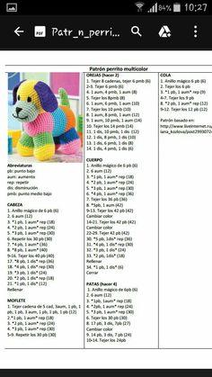 Perro multicolor 2 - Her Crochet - Jule Knitted Teddy Bear, Crochet Teddy, Crochet Baby Booties, Crochet Dolls, Crochet Bear Patterns, Crochet Motif, Crochet Animals, Stuffed Animal Patterns, Amigurumi Doll