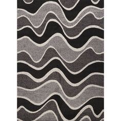 Estella Wavy Black/White Area Rug