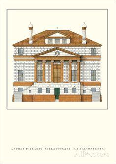 Villa Foscari La Malcontenta, Mira Prints by Andrea Palladio at AllPosters.com Classical Architecture, Architecture Details, Republic Of Venice, Andrea Palladio, Facade Design, Neoclassical, Great Rooms, Villa, Floor Plans