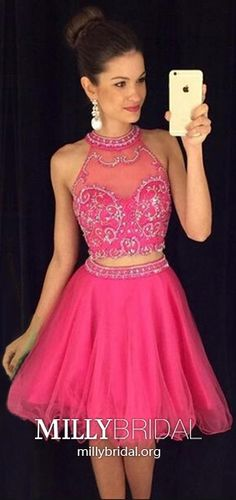 Two pieces halter homecoming dress, see through homecoming dress, Sexy homecoming dresses, Cute prom dresses - Vestidos Sexy Homecoming Dresses, Two Piece Homecoming Dress, Prom Party Dresses, Party Gowns, Dance Dresses, Cute Dresses, Short Dresses, Dress Prom, Dress Long