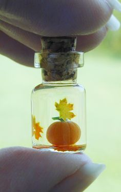 Tiny Pumpkin and Autumn Leaves in Tiny bottle by jen4eternity, $20.00
