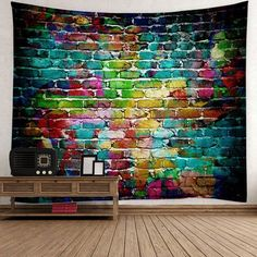 Wall Hanging Dazzling Brick Bedroom Dorm Tapestry - COLORFUL W91 INCH * L71 INCH