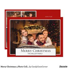 Merry Christmas 4 Photo Collage Red Holiday Invitation Christmas Photo Cards, Christmas Photos, Christmas Greetings, Merry Christmas, Personalised Christmas Cards, Holiday Greeting Cards, Photo Greeting Cards, Holiday Invitations, Custom Invitations