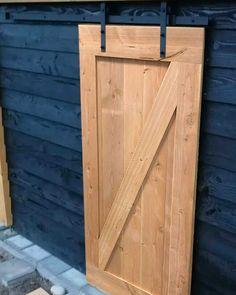 Barn Door Latch, Wood Barn Door, Wooden Front Doors, Wood Shed, Exterior Doors With Glass, Douglas Wood, Dream Garden, Garden Inspiration, Glass Door