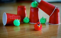 Angry birds with red solo cups, could be a fun after school game for the older kids. School Age Games, School Age Activities, Summer Camp Activities, School Fun, Activities For Kids, Crafts For Kids, After School Care, Cup Crafts, School Programs