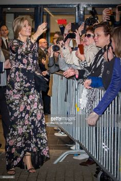 Queen Maxima of the Netherlands with well wishers at Theater Tilburg after the Kingsday concert on April 4, 2017 in Tilburg, The Netherlands.