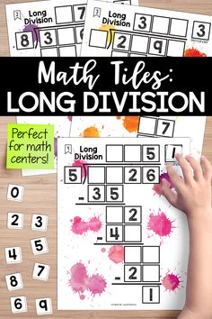 Long division math tiles is a hands-on activity that takes students' thinking beyond procedures and rote memorization. This engaging resource activates critical thinking and problem-solving skills, all while developing algebraic thinking. Students must place 10 number tiles (0-9) on the Time to Tile cards to correctly complete the long division problems. This is perfect for math centers. Long Division Activities, Math Division, Teaching Critical Thinking, Teaching Math, Teaching Ideas, Division Problems 4th Grade, Math Resources, Math Activities, Math Intervention