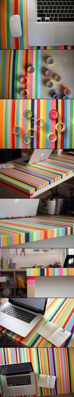 Renovar uma mesa velha com fitas coloridas                                                                                                                                                                                 Mais