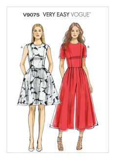 Vogue Patterns Sewing Pattern Misses'/Misses' Petite Gathered Dress and Pleated Jumpsuit Vogue Sewing Patterns, Vintage Sewing Patterns, Clothing Patterns, Vogue Dress Patterns, Simplicity Dress Patterns, Skirt Patterns, Pattern Sewing, Coat Patterns, Pattern Drafting