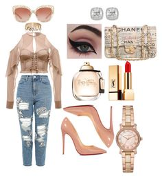 """""""Just Something Light/Styledbymahir"""" by mahirnebeu on Polyvore featuring Lanvin, Topshop, Christian Louboutin, Concrete Minerals, Yves Saint Laurent, Chanel, Dolce&Gabbana, Frederic Sage and Michael Kors"""